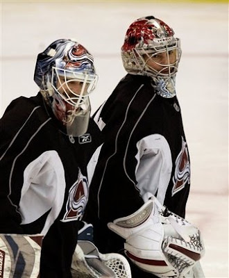 Jose Theodore and Peter Budaj during practice with the Colorado Avalanche