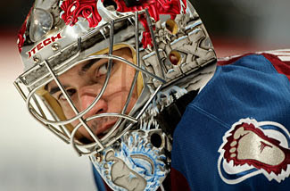 Jose Theodore looks on as the Colorado Avalanche lose to the Detroit Red Wings on Tuesday