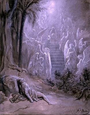 """Jacó, o neto de Abraão, teria nos deixado uma alegoria que nos fala dos vários passos que damos durante a trajetória da nossa evolução. Ele sonhou que via uma escada que, estando apoiada no chão, era tão alta que tocava o céu. Tal escada teria sete degraus. No alto dela, lá estava Jeová, o deus de Israel, convidando Jacó a subi-la. """"Jacó entendeu que aquela escada era a porta para a """"terra prometida"""", entendendo-se a """" terra prometida"""" como o clímax da espiritualidade que o homem atingirá. O Rosa Cruz nos apresentam os degraus da escada como se cada um deles estivesse relacionado com uma montanha que aparece em sete episódios históricos vividos pelo povo judeu."""