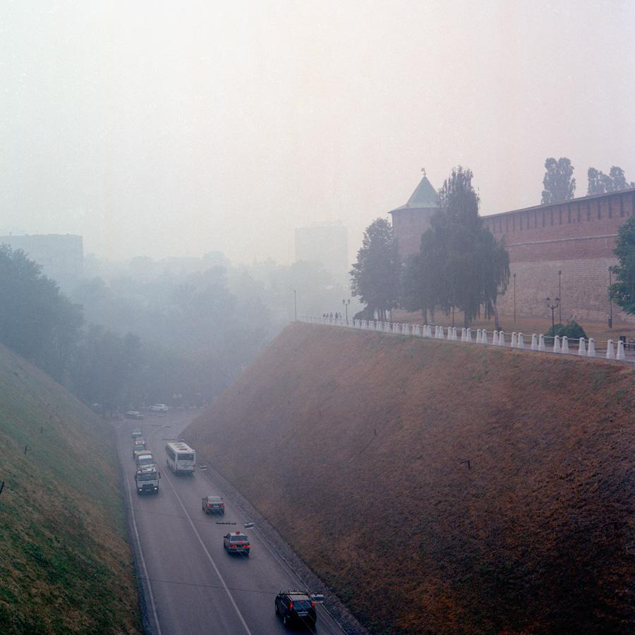 Дым в городе от горящих лесов в 2010 году
