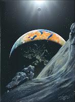 Apophis approchant de la Terre. Document Michael Carroll/The Planetary Society.