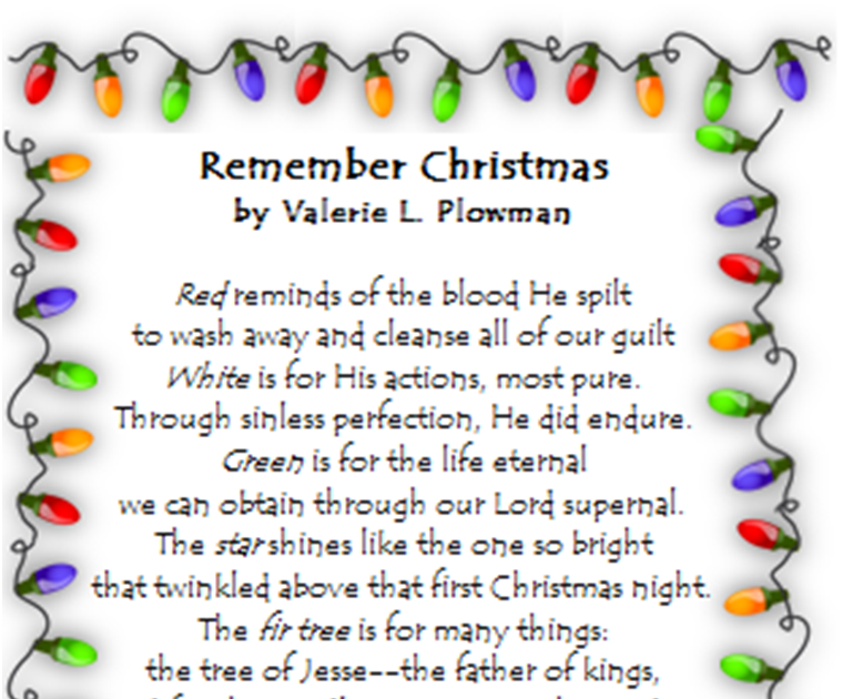 Christmas Poem.Children S Learning Activities Christmas Symbols Poem