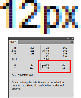 Screenshot of supposedly 12px text being 11px high when checked in Photoshop.