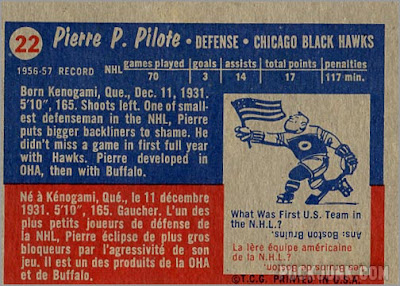 1957-58 Topps #22 - Pierre Pilote