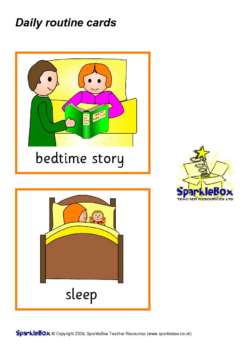 ENGLISH IS FUN: DAILY ROUTINE FLASHCARDS GIRL 1