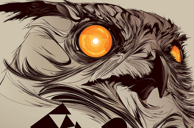 Abstract Owl Graphic Wallpaper