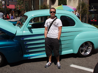 Jason in Hollywood admiring classic cars at The Gilmore Heritage Show at the Farmer's Market