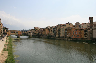 Along the Arno River in Florence in Italy
