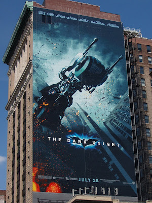 The Dark Knight movie billboard in New York - Batman on the Bat-Pod