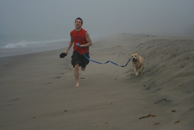 Cooper & Charlie running along the sandy beach