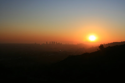Stunning Los Angeles sunset viewed from Runyon Canyon