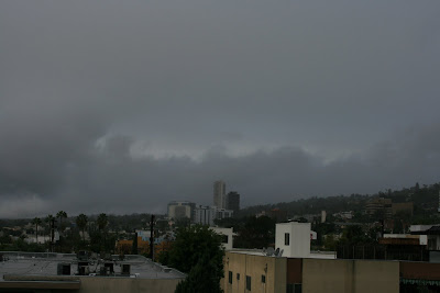 Cloudy Los Angeles in the rain
