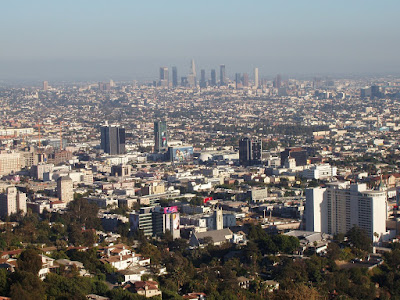 Runyon Canyon view of Downtown LA in September 2008