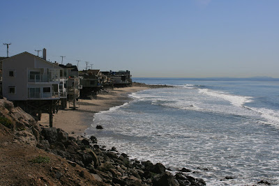 Beach house along Malibu coast