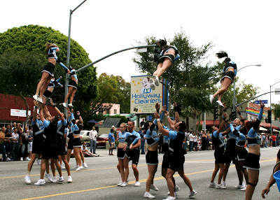 Acrobatic cheerleaders at WEHO Gay Pride Parade 2009