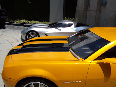 Actual Bumblebee and Sideswipe Autobot cars from Transformers 2
