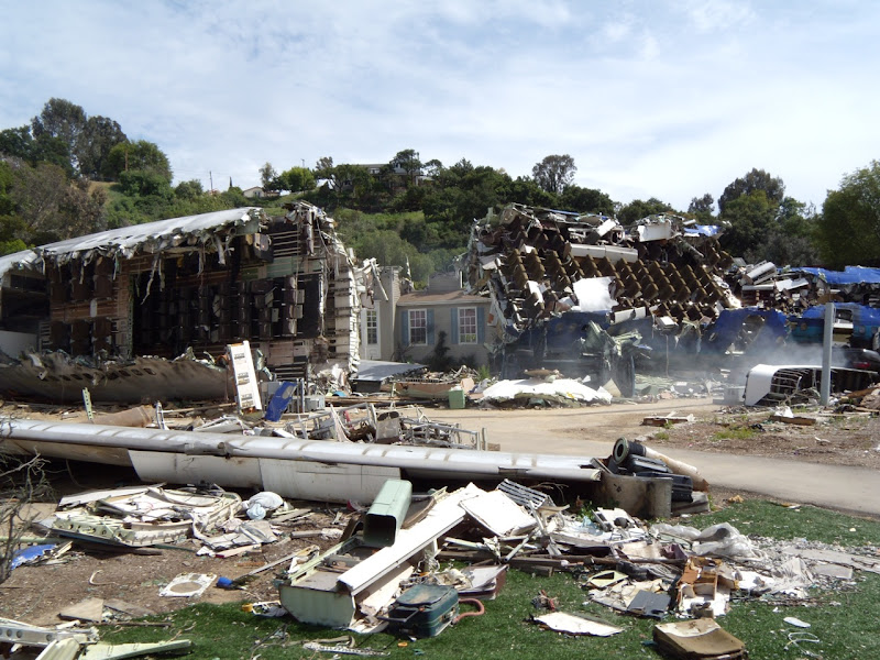 War of the Worlds plane crash movie set