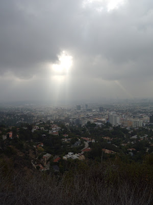 Sun though clouds over Hollywood