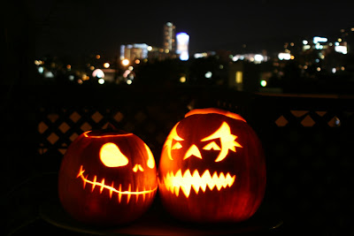 Halloween pumpkin lanterns LA Skyline