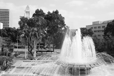 Downtown LA Fountain in mono