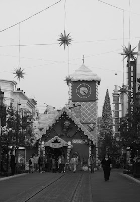 The Grove holiday decorations in mono