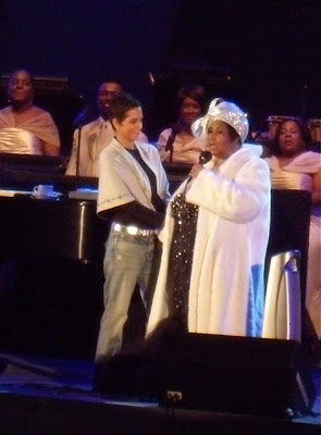 Aretha Franklin and Halle Berry at the Hollywood Bowl