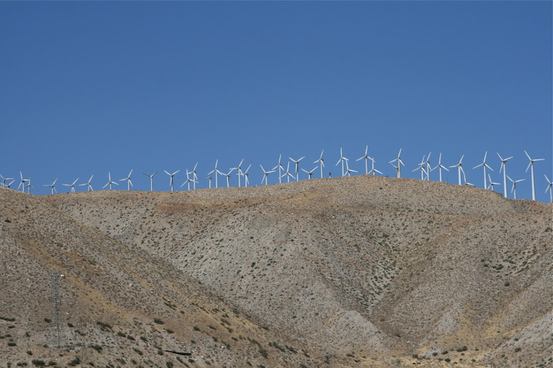 Palm Springs hilltop wind turbines