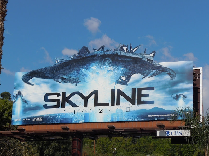 Skyline spaceship movie billboard