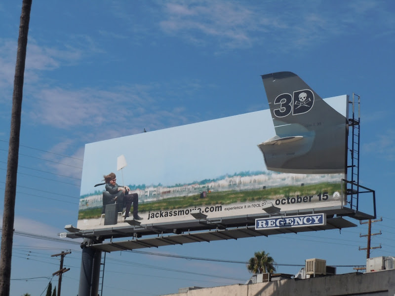 Jackass 3D jet engine movie billboard