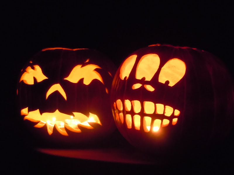Carved Halloween pumpkin lanterns