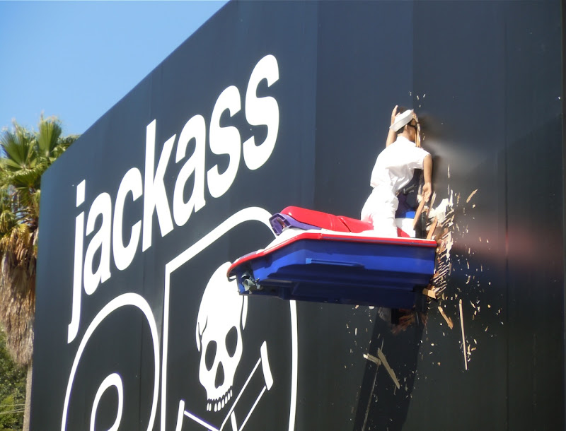 Jackass 3D jetski billboard Sunset Strip