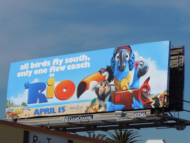 Rio birds fly south movie billboard