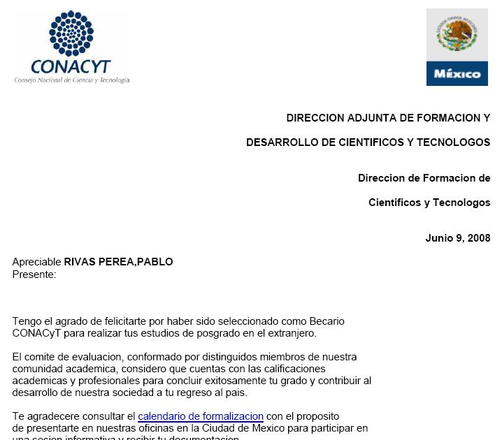 Doc Rivas Blog Conacyt Acceptance Letter