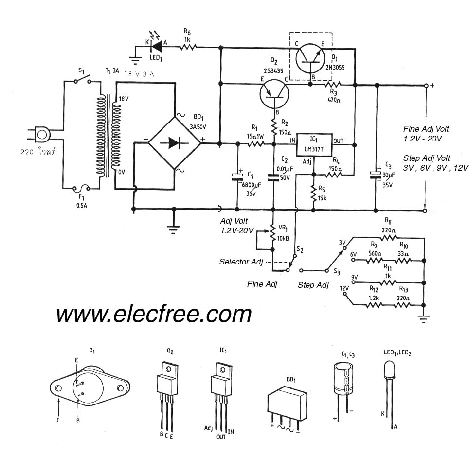 Lm317 Lm338 Lm350 Voltage Regulator Calculator And Circuits