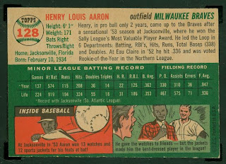 Vintage Baseball Cards 1954 Topps Henry Hank Aaron Rookie