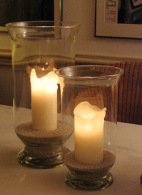 Candles in Hurricane Lamps