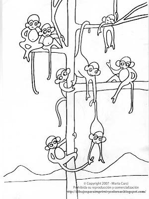 Dibujos para imprimir y colorear de Animales de la Selva Dibujo