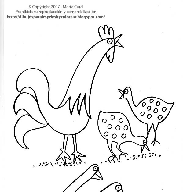 Dibujos para colorear y pintar de Animales de la granja: Dibujo de ...