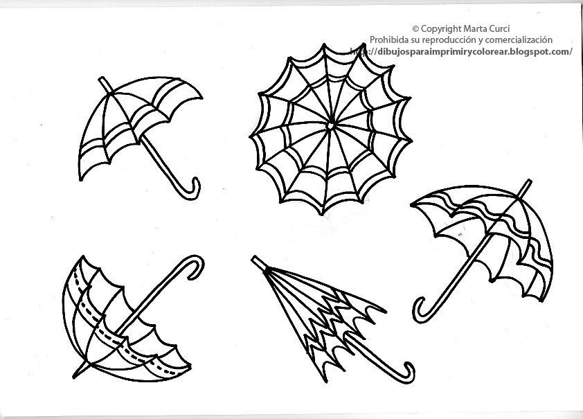 Dibujos De Paraguas Para Colorear E Imprimir: Dibujos Para Imprimir Y Colorear Gratis Para Niños: Dibujo