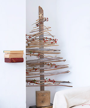 Natural modern interiors recycled driftwood christmas for How to make a hanging driftwood christmas tree