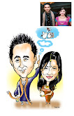 new wedded couples caricature..
