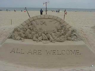 escultura la ultima cena en arena, arte en arena