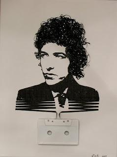 Arte musical con cassettes reciclados retratos de famosos