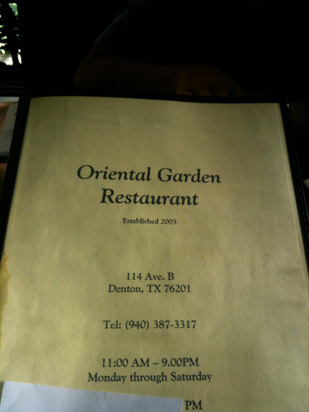 denton: rated: oriental garden restaurant