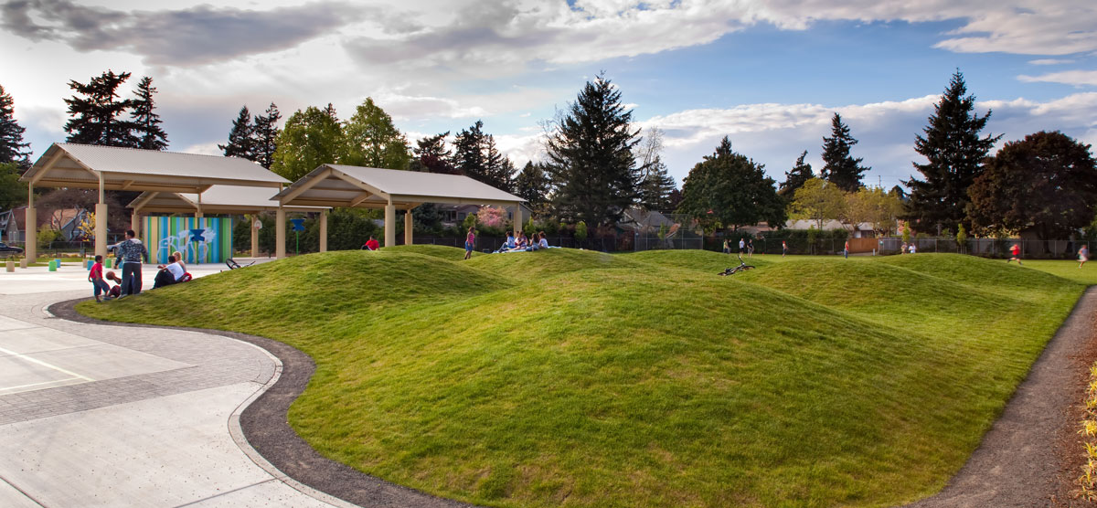 Mcm design marysville school park update for Mounding grass