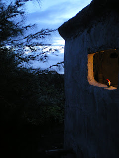 Living in the dark in Hawaii, outside our yurt with a windowless window