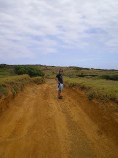 Walking along a dirt road on the Big Island of Hawaii