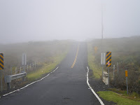 a foggy road while driving around the Big Island of Hawaii