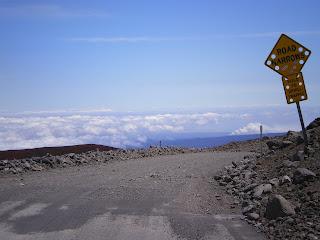 Road sign at the top of Mauna Kea in Hawaii
