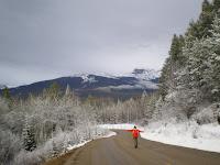 Walking in the rocky mountains of Jasper Alberta